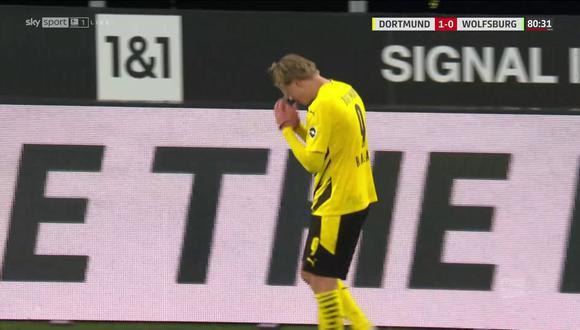 Erling Haaland salió del campo molesto en el Borrusia Dortmund vs. Wolfsburgo. (Captura: Sky Sports)
