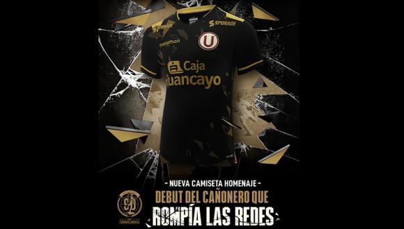 La camiseta de Universitario de Deportes en homenaje a Lolo Fernández. (Foto: Marathon)