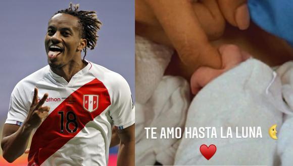 Esposa de André Carrillo compartió una historia en Instagram y dio a conocer el nacimiento del tercer hijo del jugador de la selección peruana.