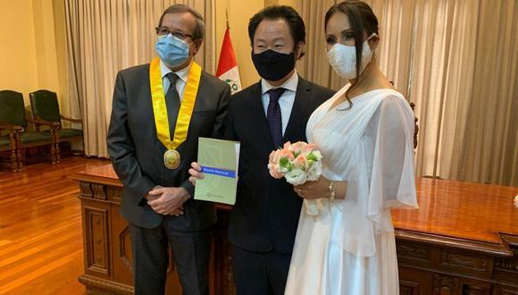 Kenji Fujimori contrajo matrimonio en presencia del alcalde de Miraflores. Luis Molina. (Foto: Perú21)