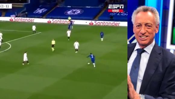 Aproximadamente a los 11 minutos del juego entre Real Madrid y Chelsea por las semifinales de la Champions League, Quique Wolf tuvo que improvisar como narrador tras unas fallas técnicas en el equipo de ESPN. FOTO: Captura