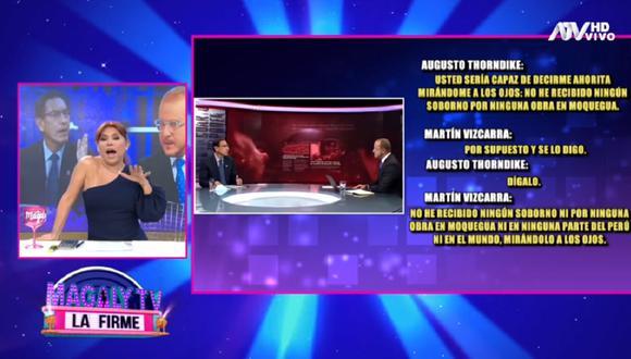 Magaly Medina opina sobre la reciente entrevista de Augusto Thorndike al presidente Martín Vizcarra. (Foto: Captura Magaly TV: La Firme)