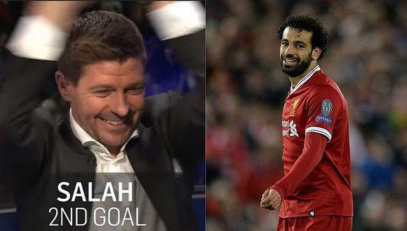 La épica reacción de Steven Gerrard tras doblete de Mohamed Salah [VIDEO]