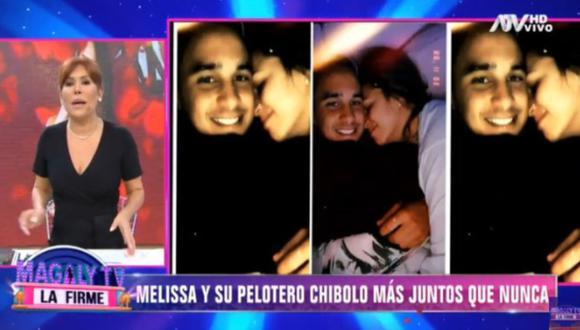 Magaly Medina reveló romántica fotografía de Melissa Klug y el futbolista Jesús Barco. (Foto: Captura de video)