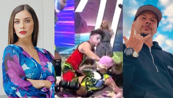 """Mario Hart le tiró tortazo a Korina Rivadeneira en """"Esto es guerra"""". (Foto: @mariohart/Captura América TV/@rivadeneirak)."""