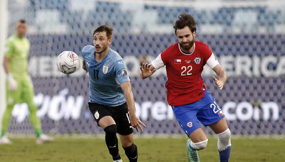 Uruguay vs. Chile en vivo se enfrentan por la fecha 3 de la Copa América 2021. Sigue los detalles del partido aquí.  (Photo by SILVIO AVILA / AFP)