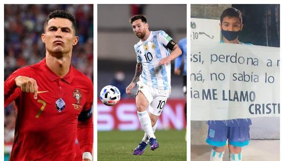Niño argentino llegó hasta Ezeiza para hacerle llegar su mensaje a Messi.