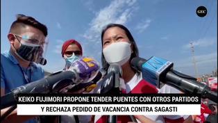 Keiko Fujimori rechaza pedido de vacancia al presidente Sagasti