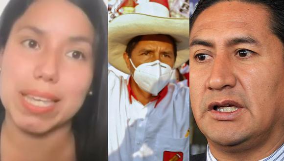 El candidato presidencial por Perú Libre, Pedro Castillo fue enfático y rechazó los comentarios que dieron sus allegados Vladimir Cerrón y Zaira Arias. FOTO: Composición