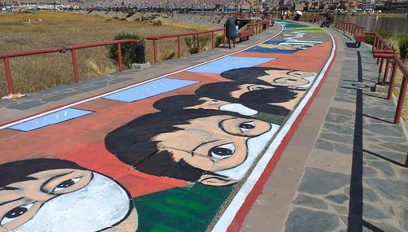 """Más de 400 artistas participaron del proyecto """"La pintura más larga del mundo"""". Foto: Asociación de Artistas Plásticos de la Región Puno"""