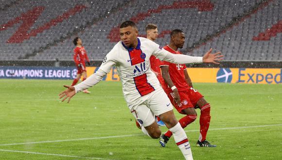 Kylian Mbappé anotó doblete en Bayern Munich vs PSG por Champions League.