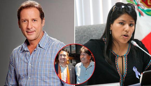 El actor criticó la cena lujosa de Cerrón y Evo Morales y la excongresista no se quedó callada.