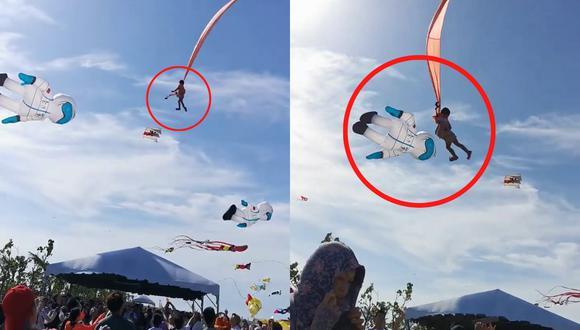 Un video viral muestra cómo la niña pudo ser devuelta a tierra firme tras quedar suspendida a varios metros de altura. | Crédito: 跟著Via趣旅行~Part II / Facebook.