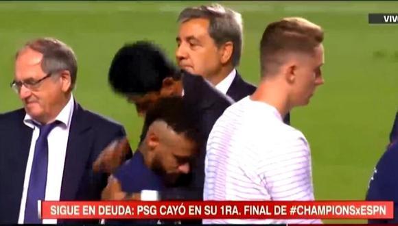 Presidente de PSG buscó consolar a Neymar tras perder final de Champions League  (Foto ESPN)
