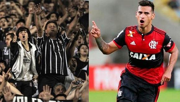 Hinchas de Corinthians meten miedo a Miguel Trauco con impresionante banderazo