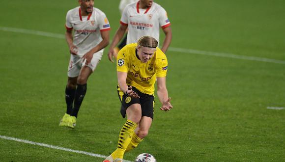 Erling Haaland anotó un doblete en la victoria 3-2 de Borussia Dortmund ante Sevilla. (Foto: AFP)