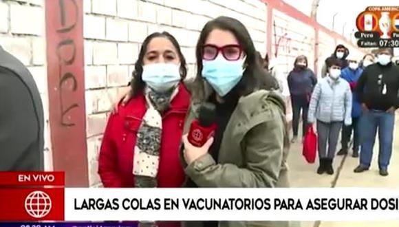 Reportera se emociona al encontrarse con su mamá en cola de vacunatorio. (Foto: captura de video)