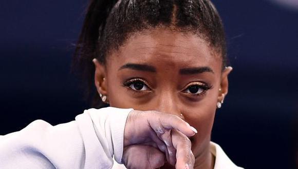 Simone Biles desistió de competir en la final de suelo de gimnasia artística. (Foto: AFP)