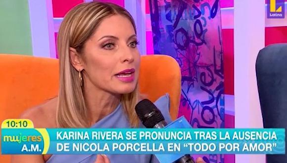 """Karina Rivera sobre polémico comentario de Nicola Porcella: """"Me dolió, pero yo sé que él no quiso decir eso"""". (Foto: Captura)"""