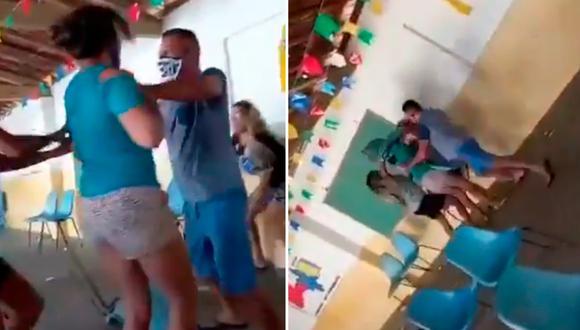 Video en el cual aparecen cuatro personas peleando en un centro de vacunación se hizo viral en las redes sociales.