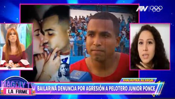 Bailarina Jhajayra Aliaga denuncia al futbolista Junior Ponce. (Foto: Captura Magaly TV: La Firme).
