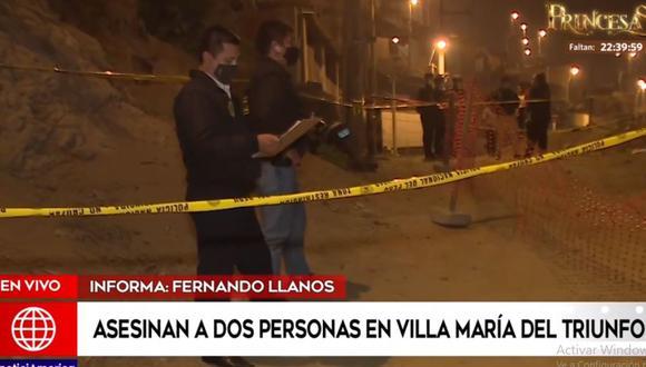 La Policía llegó al lugar del doble crimen para iniciar las investigaciones. (América Noticias)