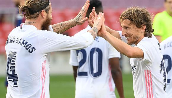Con goles de Federico Valverde, Sergio Ramos y Luka Modric, Real Madrid venció 3-1 al Barcelona en el clásico de España. (Foto: AFP)