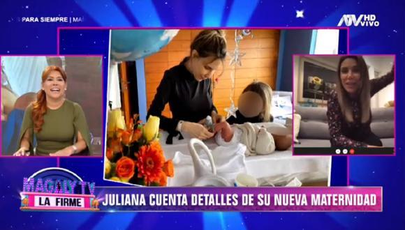 Juliana Oxenford habla sobre la maternidad en entrevista con Magaly Medina. (Foto: Captura Magaly TV: La Firme)