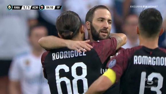 Real Madrid vs. Milán: Gonzalo Higuaín anotó golazo en debut con 'Rossoneros'
