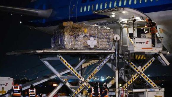 El cargamento llegó al aeropuerto Jorge Chávez del Callao pasadas las 7 p. m. Foto: Minsa