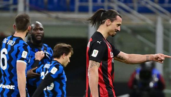 Ibrahimovic y Lukaku tuvieron un altercado a poco del final del primer tiempo. (Foto: AFP)