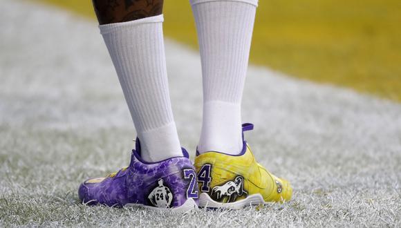Demarcus Robinson y el homenaje a Kobe Bryant en el Super Bowl LIV. (Getty)