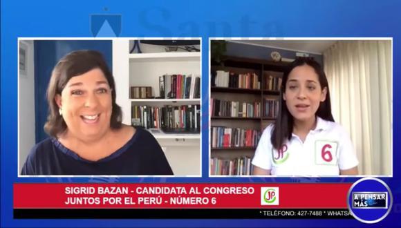La candidata Sigrid Bazán fue desmentida en vivo por Rosa María Palacios tras ataques contra la empresa privada.