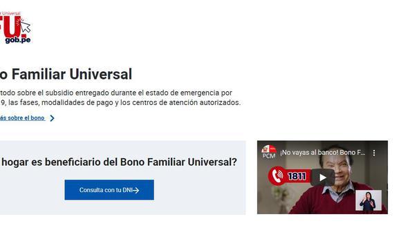 """Bono Universal BFU - Ingresa a """"Consulta con tu DNI"""" y sigue los pasos."""