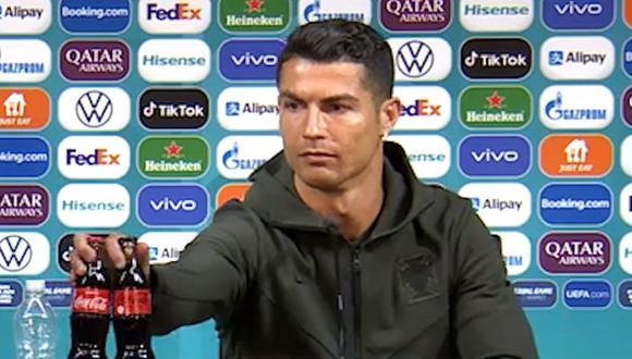 Cristiano cambió las gaseosas de su conferencia de prensa por aguas. (Captura: Eurocopa)