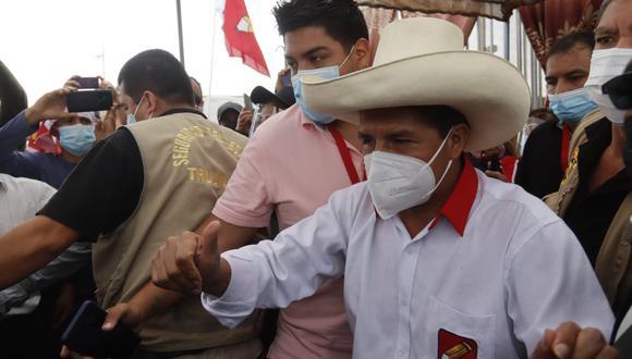 El candidato presidencial, Pedro Castillo tuvo una respuesta inaudita tras ser consultado por el proceso de inmunización  en el Perú debido al COVID-19. (Foto: Randy Reyes)