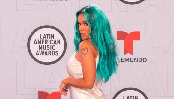 Karol G en la alfombra roja de los Latin American Music Awards 2021. (Foto: EFE)