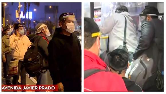 Personas tuvieron que usar protector facial para abordar usar el Metropolitano, Corredores Complementarios y Metro de Lima. (Captura: América Noticias)