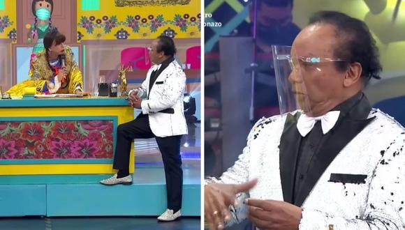 """""""Melcochita"""" también contó que le dio risa que el presidente Vizcarra intente imitarlo en una de sus conferencias. (Foto: Captura de América TV)."""