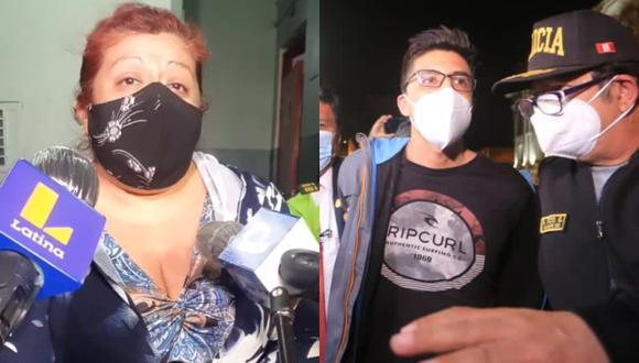 La madre de Carlos Ezeta, joven agresor del congresista Ricardo Burga llegó hasta la comisaría en donde estaba y pidió disculpas por el puñetazo