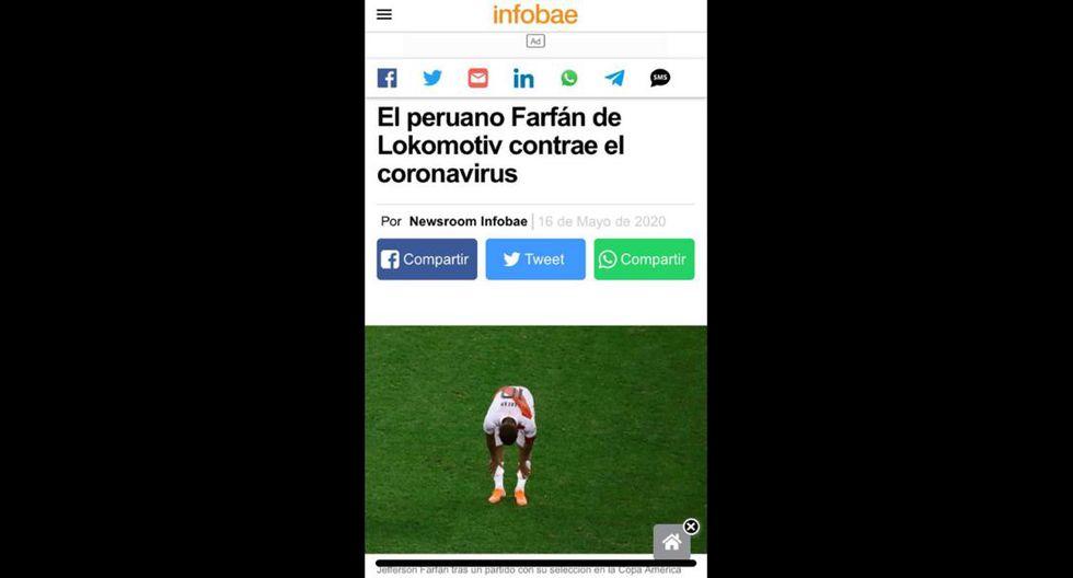 Así reaccionó la prensa extranjera tras conocerse el resultado positivo de Jefferson Farfán. (Captura)