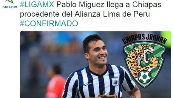 Alianza Lima: Pablo Míguez jugará en Jaguares de Chiapas de México