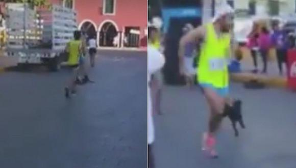 Maratonista patea a perro en plena competencia y genera repudio en redes