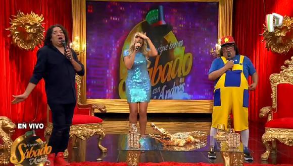 """Los conductores de """"Bienvenida la tarde"""" se reencontraron en el programa """"Porque hoy es sábado con Andrés"""". (Foto: Captura Panamericana Televisión)"""