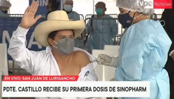 Jefe de Estado recibió la primera dosis de la vacuna contra el coronavirus este viernes. Foto: captura TV Perú Noticias