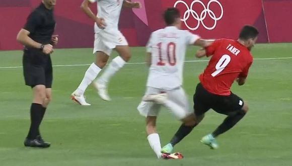 Dani Ceballos sufrió un duro pisotón en el España vs. Egipto. (Captura: Bein Sports)