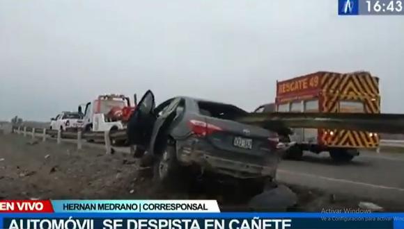 El vehículo iba en dirección a la ciudad de Chincha y, que al parecer, se desplazaba a excesiva velocidad. (Foto: Canal N)