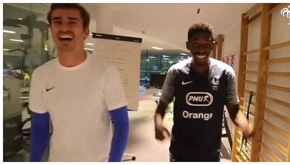 Antoine Griezmann y Dembelé entrenan con Francia a ritmo de reguetón