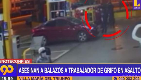 Las cámaras de seguridad grabaron el asalto y asesinato de un trabajador del grifo ubicado en la Av. Pachacútec. (Latina)