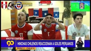 Mira la reacción de los hinchas chilenos tras los goles de Cueva y Peña